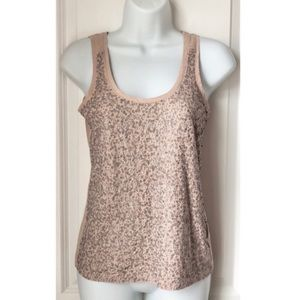 J.Crew Silver Sequin Sleeveless Tan Tank Top